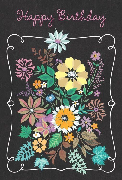 Birthday W Floral Print 100 B 8388 – Birthday Card Shop