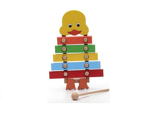 Toy Instruments, Wooden Duck Xylophone, Musical Toys Baby, Toddler Learning Toy, Eco Friendly Wood Animal, Wood Gift for Children