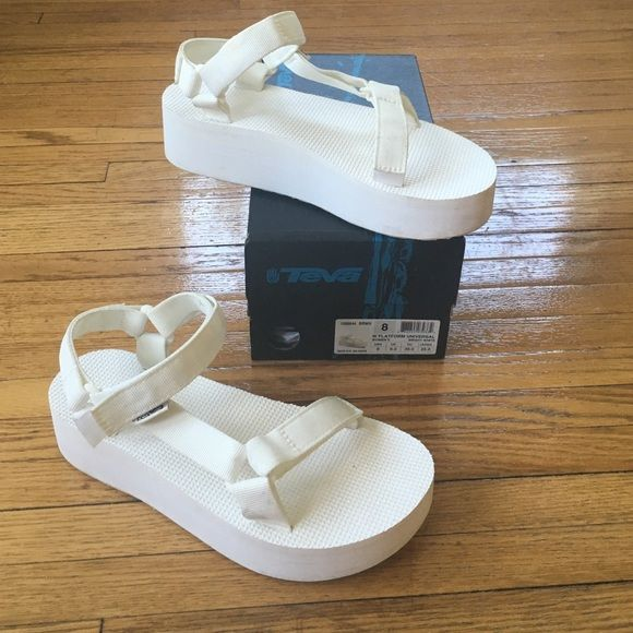 f662d2e06c0 White Platform Tevas Incredibly comfortable platform Teva sandals in all  white! Size 8. Only worn once so has very minimal wear. Easy to bleach  clean!