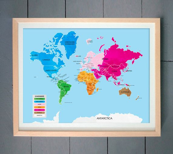 Colorful world map art print world map divided into continents colorful world map art print world map divided into continents gumiabroncs Image collections