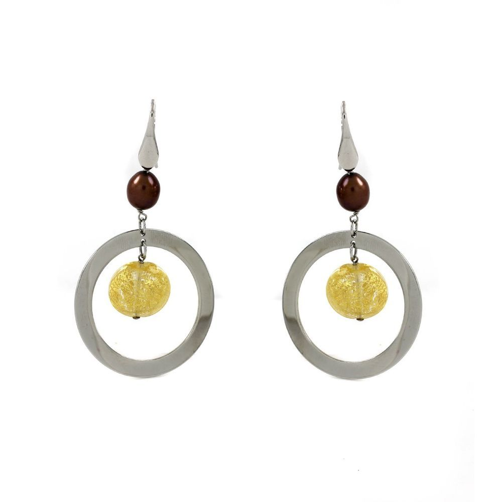 Simona Collini Murano Glass & Cultured Pearl Earrings Stainless Steel U840 #SimonaCollini #DropDangle