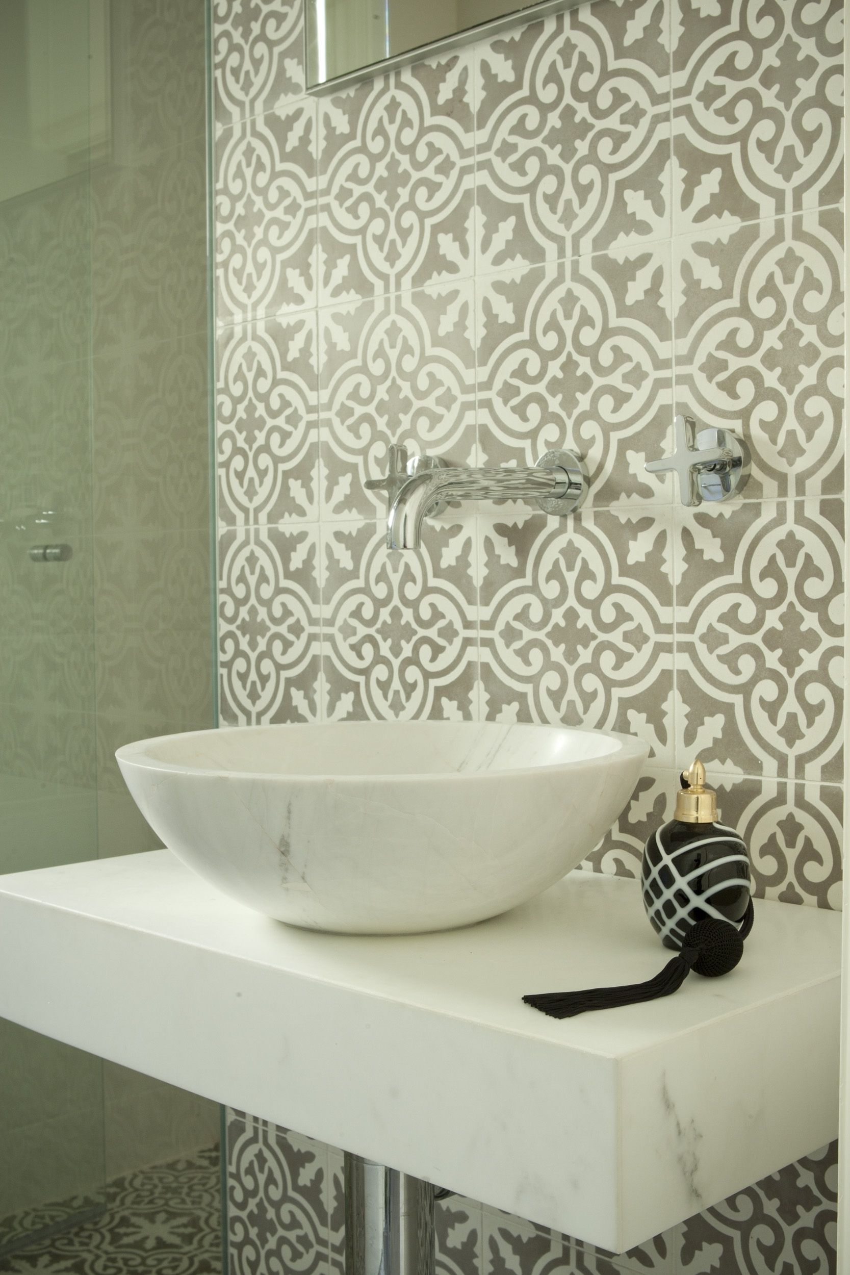 Guest bathroom with jatana tiles and marble basin brooke aitken guest bathroom with jatana tiles and marble basin brooke aitken design dailygadgetfo Image collections