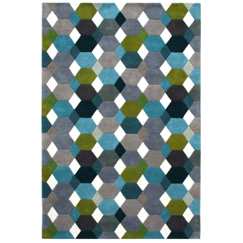 Linie Designs Grease Petrol Rug   Patterned Rugs   Rugs   Living Room    Healu0027s