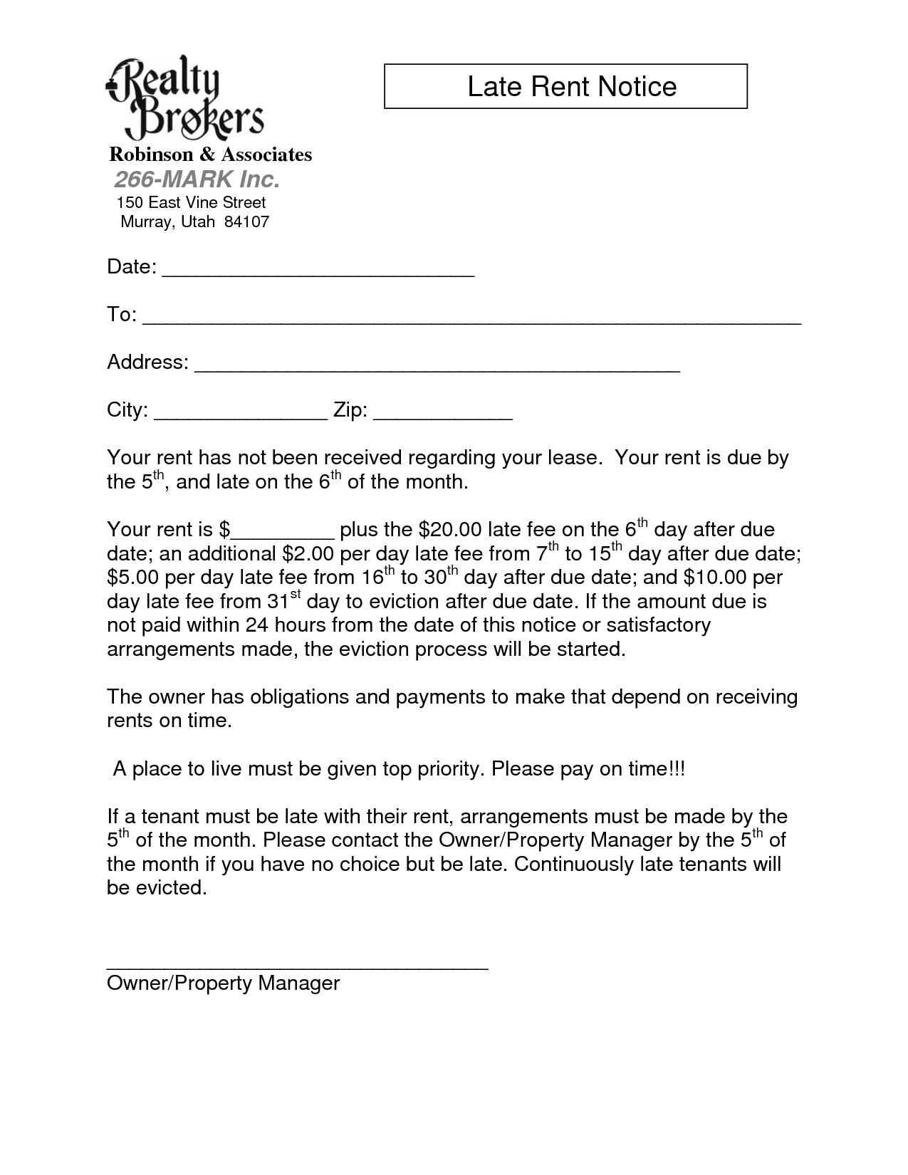 Sample Late Rent Notice Free Printable Documents Late Rent Notice Letter Example Cover Letter Design