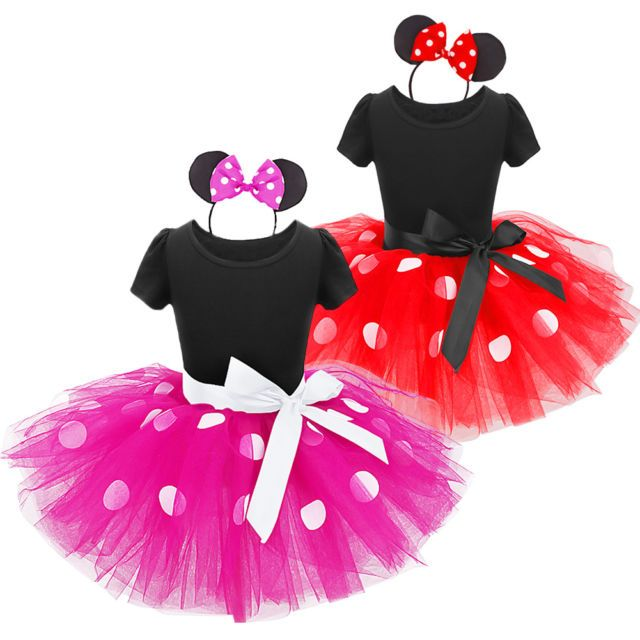 Baby Kid Girls Toddler Minnie Mouse Cosplay Party Dress Up Tutu Skirt Headband