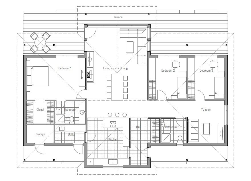 Modern House Plan with vaulted ceiling. Open living area. Bedroom ...