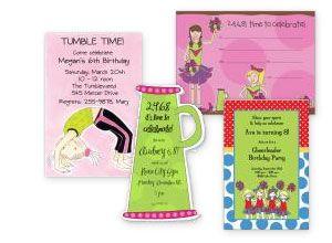 Cheerleader Party Polka Dot Design Kids Birthday Invitations
