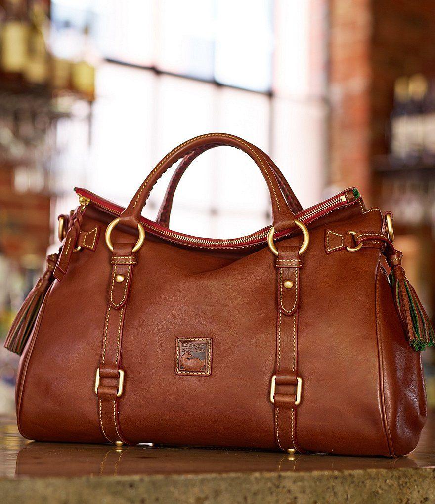 Florentine Leather Tasseled Satchel Bag