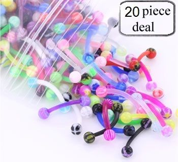 "20 Pieces of 16g 3/8"" Eyebrow PTFE Bent Barbells with Acrylic Balls - MIX :: Deals - Sales :: Painful Pleasures, Inc."