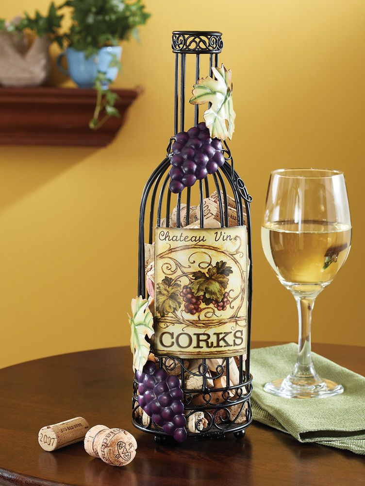 Wine Bottle Decorative Tabletop Cork Holder Winery Vineyard Kitchen ...