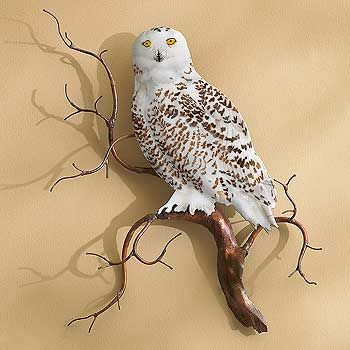 Snowy Owl Enamel Wall Sculpture   Wild Wings