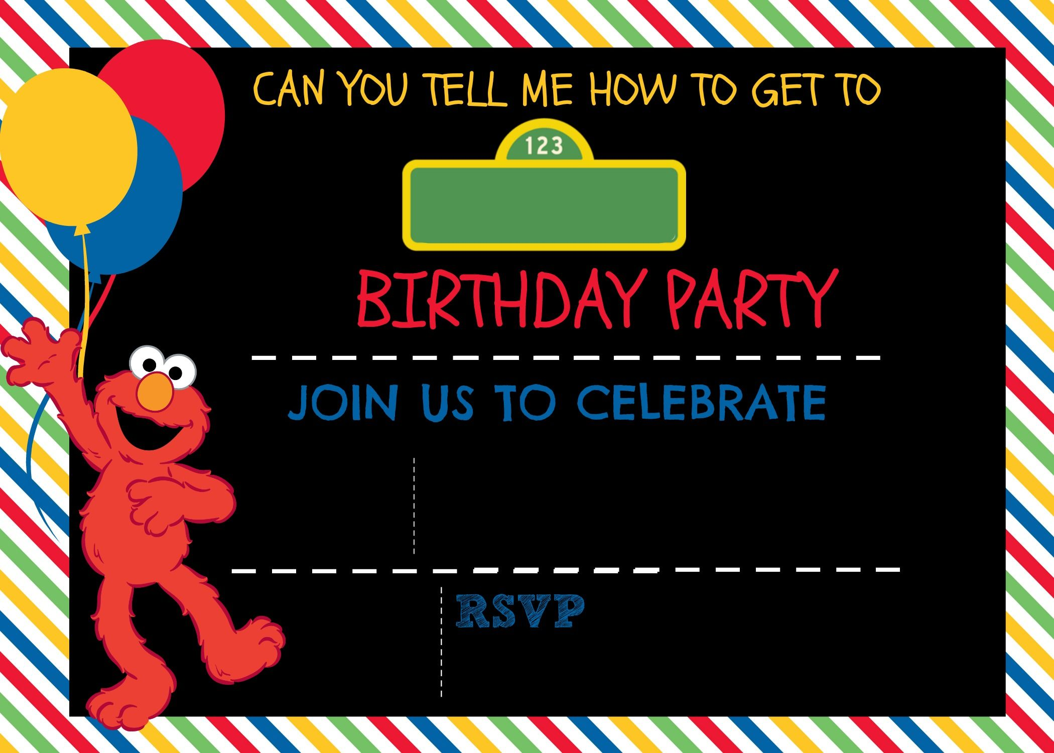 How to make a sesame street digital invitation digital free template to make your own sesame street invitation plus a video tutorial on how pronofoot35fo Images