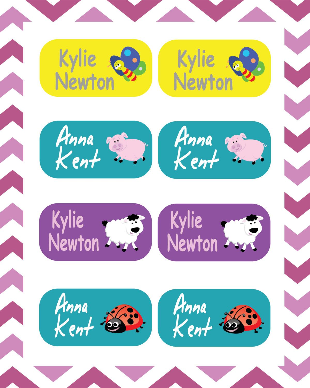Kids labels personalized name labels set of 105 labels waterproof