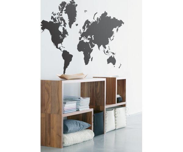 World Map Wall Sticker - Black
