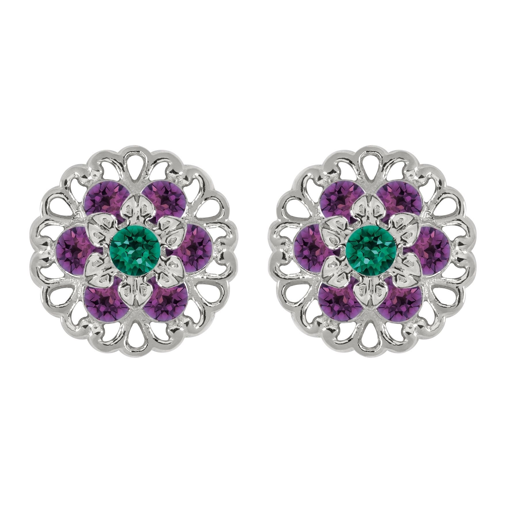Lucia Costin Sterling Silver Green/ Violet Earrings