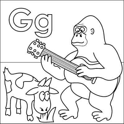 Letter G Coloring Page Gorilla Goat Guitar Grass From Http