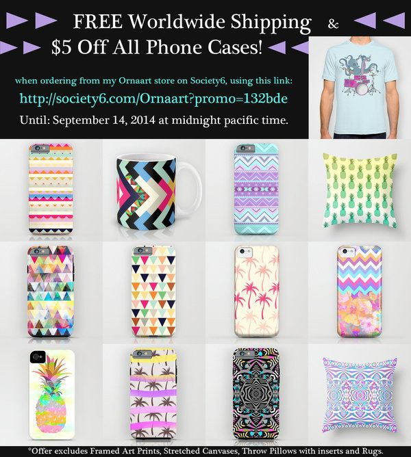 FREE SHIPPING In My Ornaart Shop + $5 OFF All Phone Cases - till September 14, 2014 by Ornaart | Society6 [including iPhone 6 cases!]