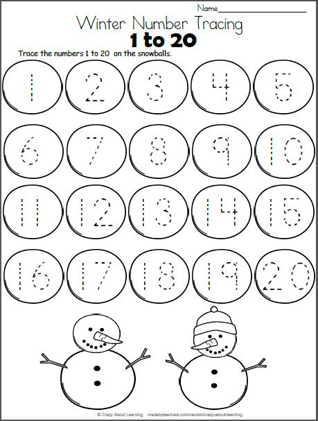Snowball Math - Trace Numbers To 20 - Madebyteachers Numbers Preschool,  Snowmen Math, Preschool Math