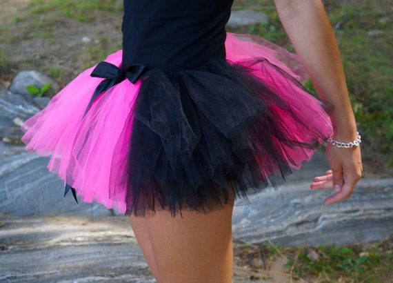 55b29bff38 Might make one of these to run in for May! Pink & Black Teen or Adult Tutu  / Rave Tutu on Etsy, $30.00 CAD
