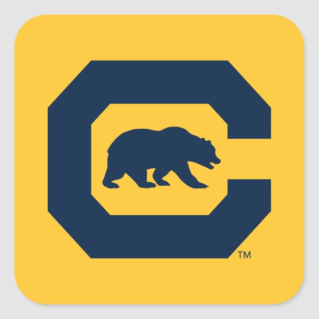 Cal Blue C With Bear Square Sticker Zazzle Com In 2021 Create Custom Stickers Blue C Custom Stickers [ jpg ]