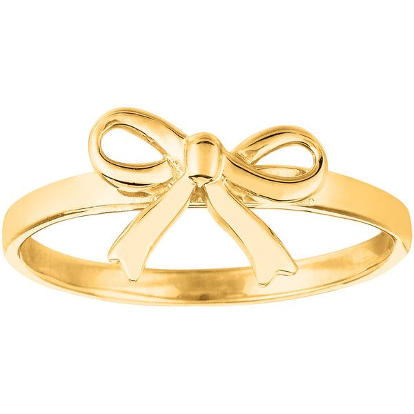 14k yellow gold bow design ring 329 liked on Polyvore