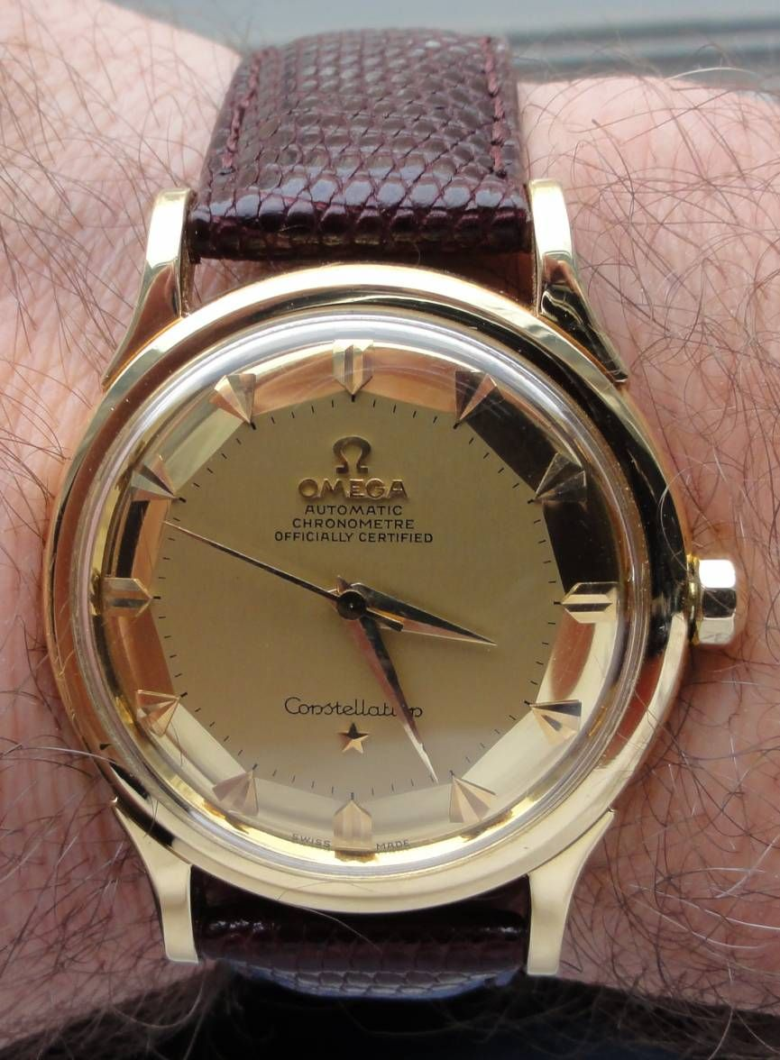 ed16351c80d Gorgeous Vintage Omega Constellation Piepan Deluxe Chronometer In 18K Solid  Gold Circa 1950s