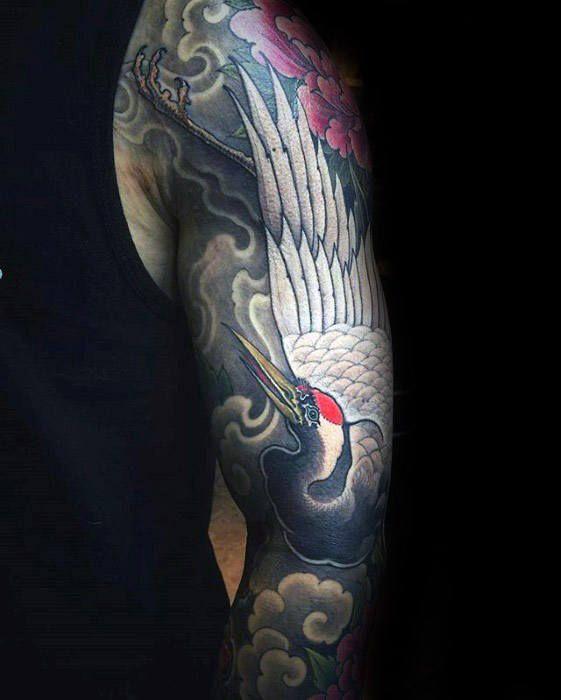 60 Crane Tattoo Designs For Men Masculine Bird Ink Ideas Full Sleeve Tattoos Sleeve Tattoos Best Sleeve Tattoos