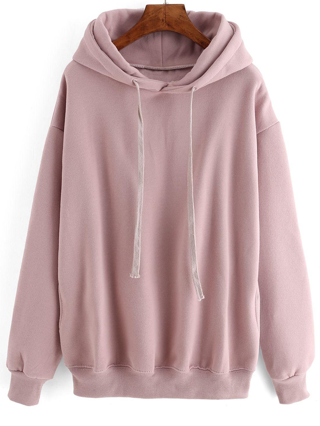 Hooded Drawstring Loose Pink Sweatshirt … | Pinteres…