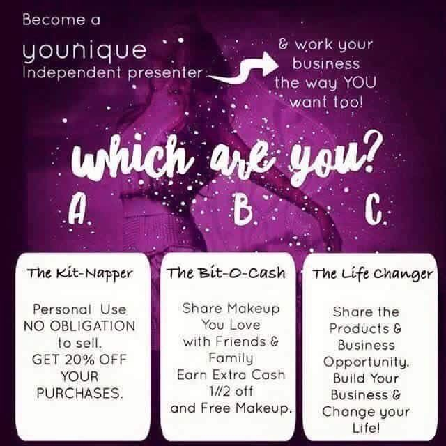 you can become a younique presenter and choose to do either option a