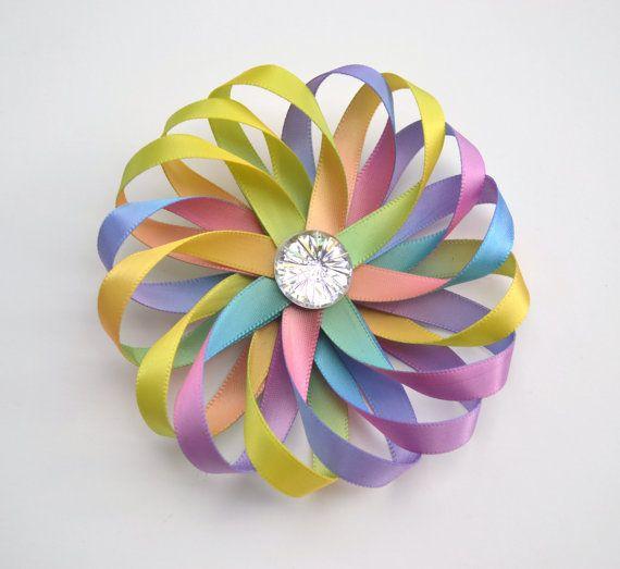 Rainbow Tie Dye Hair Bow Pastel Clip Flower Pinwheel