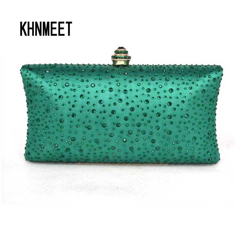 e2f05b4bf87b Trova più Pochette Informazioni su Verde Smeraldo Strass di Cristallo Donne  Frizione borse Da Sera Delle