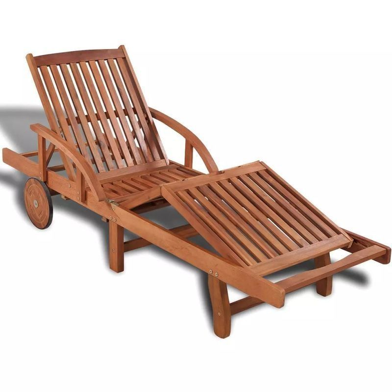 vidaXL Solid Acacia Wood Sun Lounger 200x68x83cm Outdoor Chaise Lounge Bed