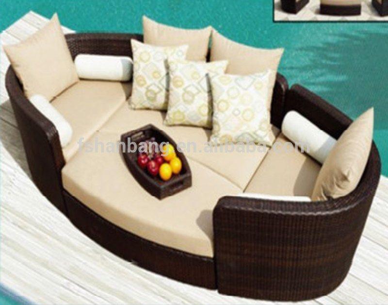 Outdoor patio muebles de mimbre marrón de lujo sofá-cama sofá ...