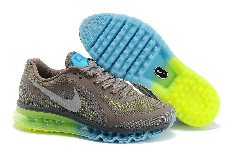 super popular ff10f 1763f Mens Nike Air Max 2014 Deep Grey Fluorescence Green Shoes  Grey  Womens   Sneakers