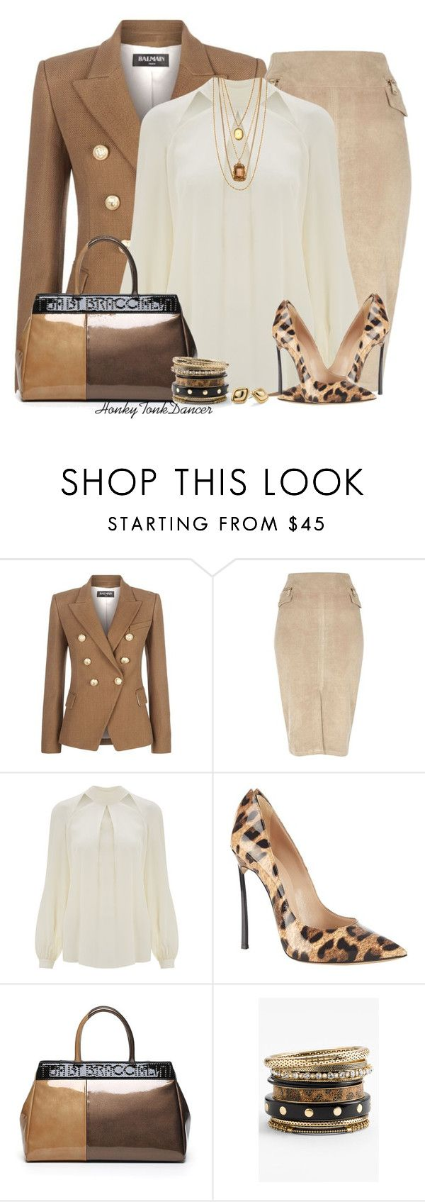 """""""Pop Of Leopard"""" by honkytonkdancer ❤ liked on Polyvore featuring Balmain, River Island, Temperley London, Casadei, Vintage Collection, Natasha Couture, Chico's, women's clothing, women and female"""