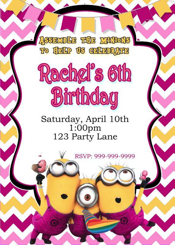 pink minion birthday invitation with
