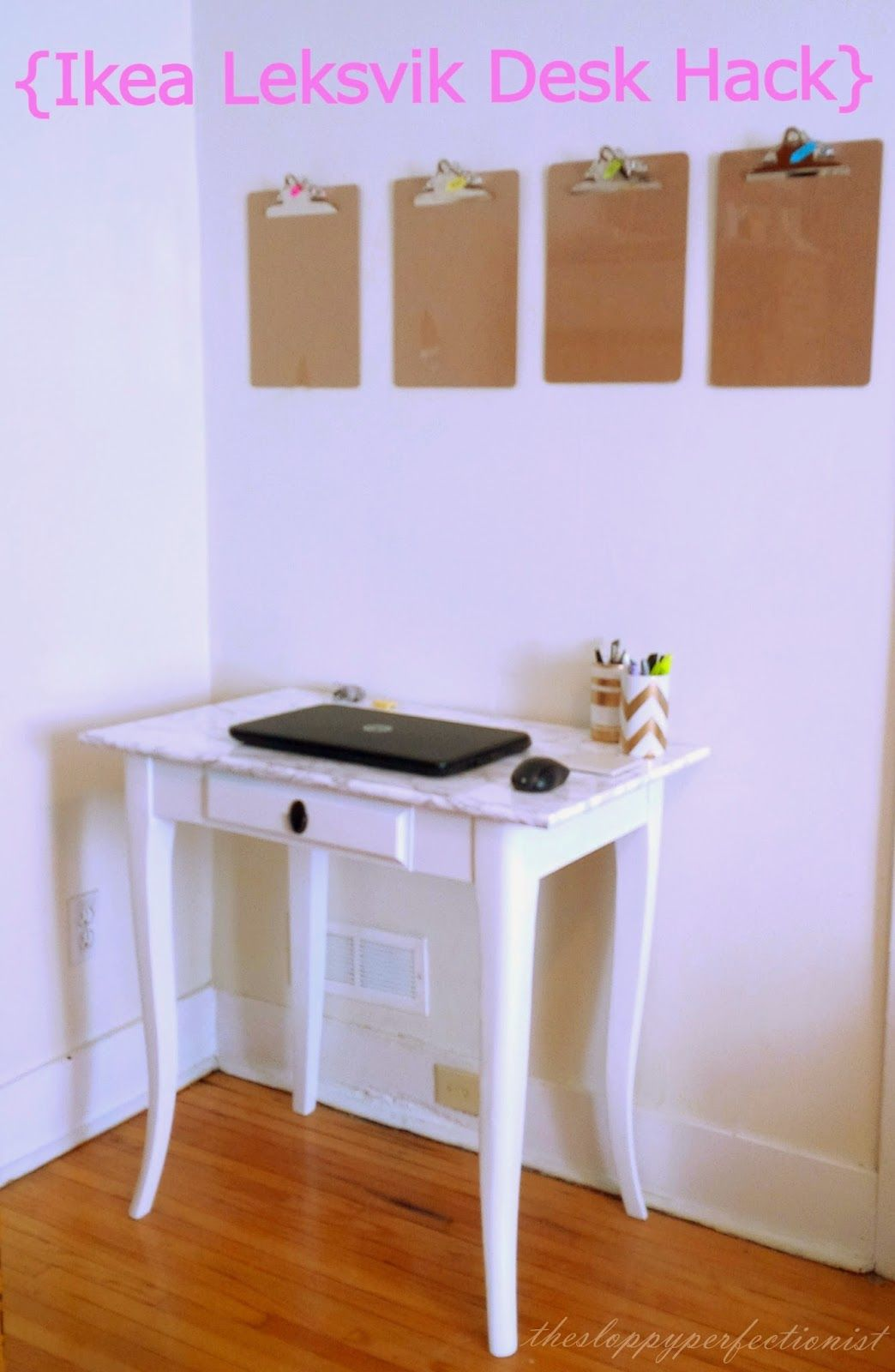 The Sloppy Perfectionist Ikea Leksvik Desk Hack Marble Contact  # Meuble Tv Angle Ikea Leksvik