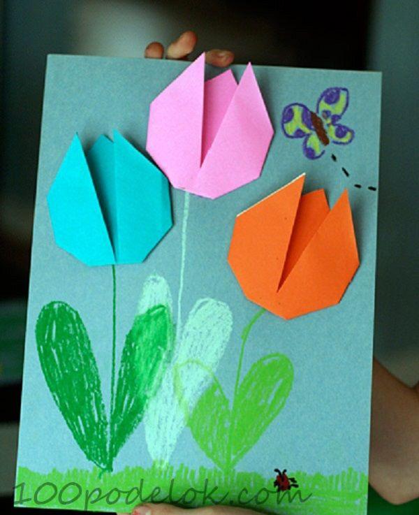 Открытка оригами на день рождение маме, коровкой