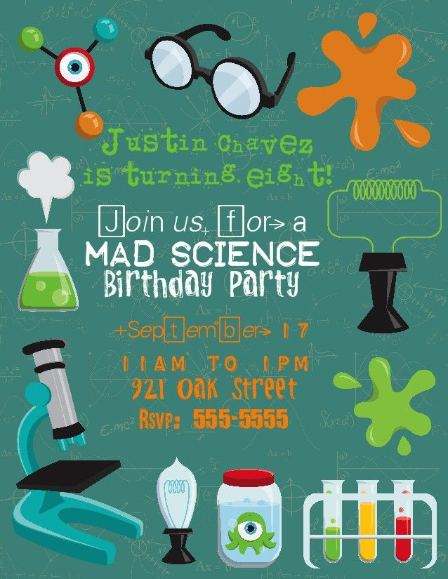 Bear River Photo Greetings Mad Scientist Birthday Party – Mad Scientist Birthday Party Invitations