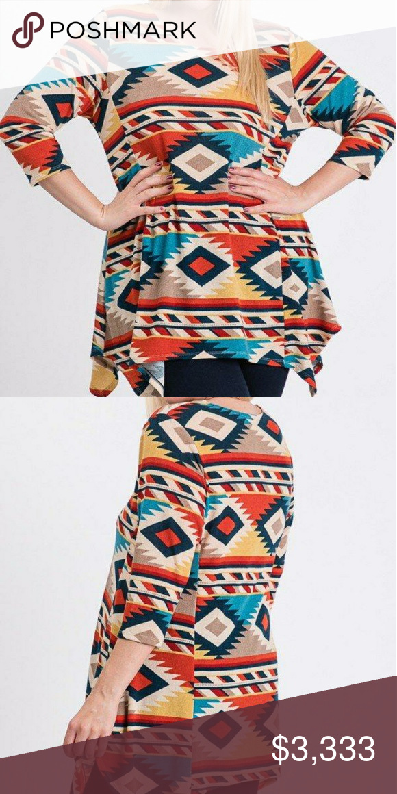*COMING SOON* Plus Size Aztec Print Tunic 3/4 sleeves.  95% Rayon 5% Spandex True to size. Tops Tunics #aztec