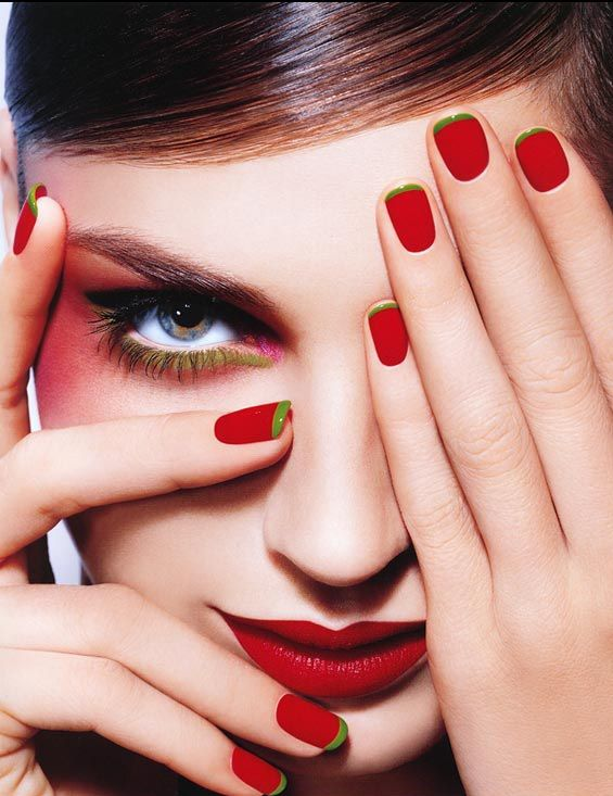 red nails with green tips - with black dots, strawberry! | For ...