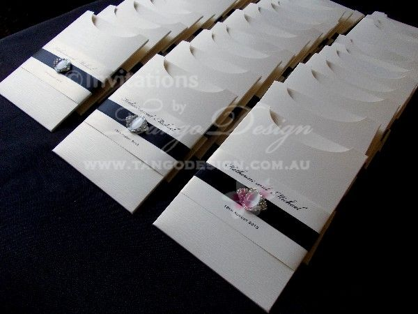Wedding invitation pocket sleeves with black ribbon by www quality wedding invitations at an affordable price australias most awarded invitation maker stopboris Gallery