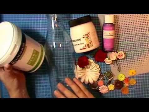 Gedecoreerde Fles met gesso en verf - YouTube
