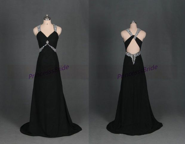 Long black chiffon prom dress with rhinestones,2014 sexy v-neck evening dresses hot,cheap chic women gowns for holiday party.