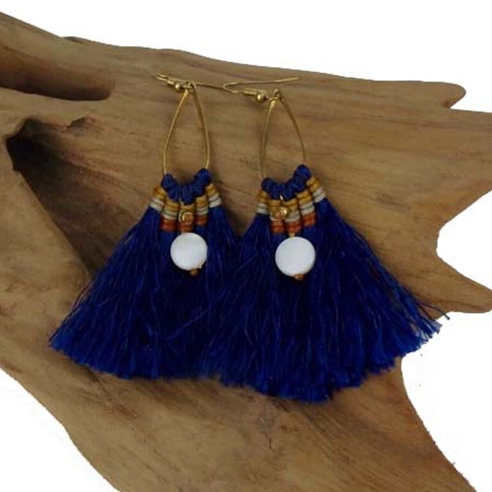 Fringe Earrings - Cobalt via Creative Designs. Click on the image to see more!