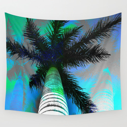 Palm Tree Wall Hanging Tropical Posterize Print Fijian Coconut Filtered Sun Shade Island Ta