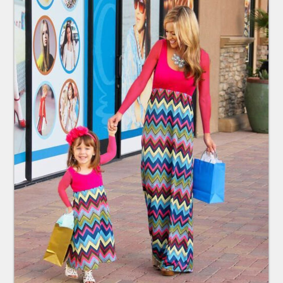 Family matching mother daughter long dresses mom daughter clothes