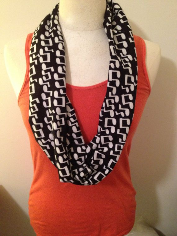 Black & White Music Note Flannel Infinity by HandyHousewifeDesign, $12.00