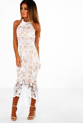 White dipped hem maxi dress