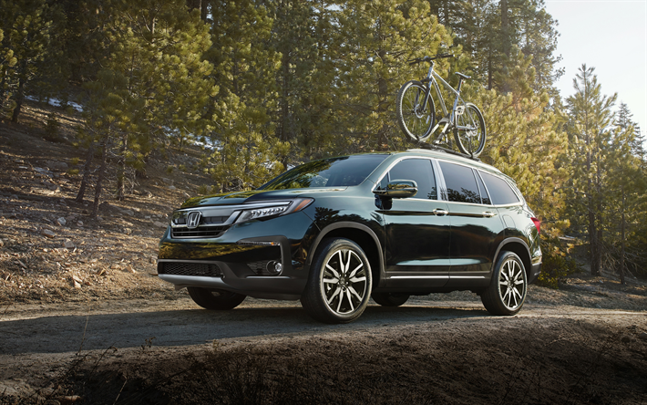 Download Wallpapers Honda Pilot 2019 4k Front View Large Suv New Black Pilot Trunk For Bicycle On Roof Of Car Japanese Cars Honda Besthqwallpapers Com Honda Pilot Honda Honda Pilot 2016